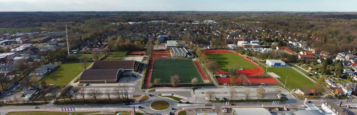 Luftbild-Panorama Sportanlage TSV Trittau